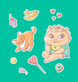 set of color stickers joyful vector image vector image