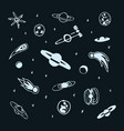 set of hand drawn doodle cosmic object - planet vector image vector image