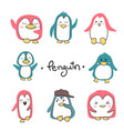 set of penguins cute character vector image
