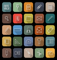 Stationery line flat icons with long shadow vector image vector image