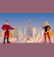 superhero couple presenting vector image