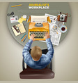 top view journalist at workplace vector image vector image