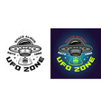 ufo zone emblem in two styles vector image vector image