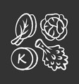 vitamin k chalk icon edible greens and cabbage vector image