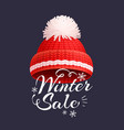 winter sale poster knitted red hat icon vector image vector image