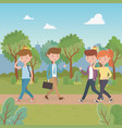 young people walking in park characters vector image
