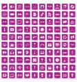 100 video icons set grunge pink