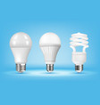 3d glowing cfl and led light bulbs on blue vector image