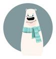 a cartoon portrait a bear stylized polar bear vector image vector image