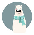a cartoon portrait of a bear stylized polar bear vector image vector image