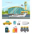 airport terminal aircraft vector image vector image