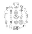 appetizers icons set outline style