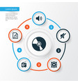 audio icons set collection of tuner megaphone vector image vector image