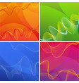 background designs with wavy lines in four colors vector image