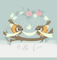 bird couple cute card with vintage flower vector image vector image