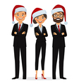Business people dressed in Christmas hats vector image vector image