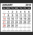 calendar sheet january 2018 vector image vector image