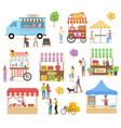 cart with coffee and fastfood vegetables vector image vector image