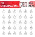 christmas ball thin line icon set xmas toys vector image vector image