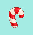 christmas cartoon icon - red candy cane vector image vector image