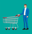 customer with empty supermarket shopping cart vector image