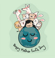 cute animals with a girl on the earth mother vector image