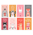 cute cards with woodland animals celebrating vector image vector image