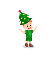 cute little boy in the costume of hristmas tree vector image vector image