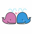 cute pink and blue couple whales in love cartoon vector image vector image