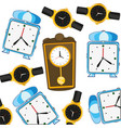 decorative pattern from come hours and alarm clock vector image vector image