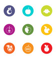 eco apple icons set flat style vector image vector image