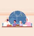 family ramadan dinner arab eat gathering at home vector image vector image