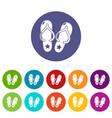 flip flops icons set color vector image