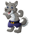 funny cartoon wolf vector image