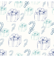 Gift boxes with canducane outline seamless pattern vector image
