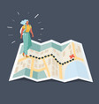 girl tourist in mountain walking map vector image vector image