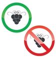Grape permission signs set vector image