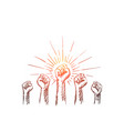 hand drawn raised hands with clenched fists vector image vector image