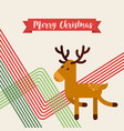 happy merry christmas reindeer character vector image