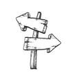 ink sketch of wooden signpost vector image vector image