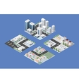 Isometric set of the modern city vector image vector image
