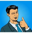 Man winks and shows good hand gesture vector image vector image