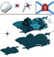 map of rio de janeiro with regions vector image vector image
