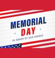 memorial day usa flag light stripes banner vector image