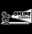 monochrome online cinema advertising template on vector image