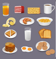 morning food and drinks symbols breakfast icons vector image vector image