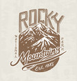 mountains logo camping label trip vector image