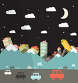 night landscape with road and cars mountains vector image vector image