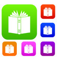open thick book set collection vector image vector image