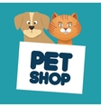 pet shop cat and dog lettering vector image